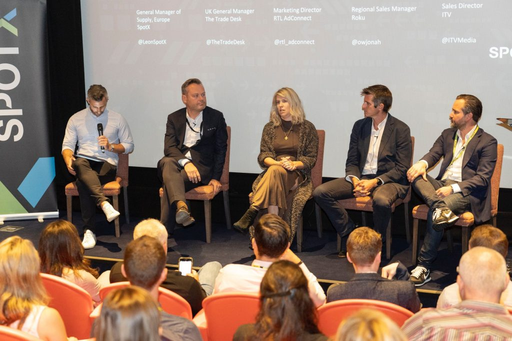 Anna Forbes from The Trade Desk, Steve Bignell from ITV, Andy Jones from Roku, and Daniel Bischoff from RTL AdConnect with panel moderator Léon Siotis from SpotX at the #breakfastXchange event in London
