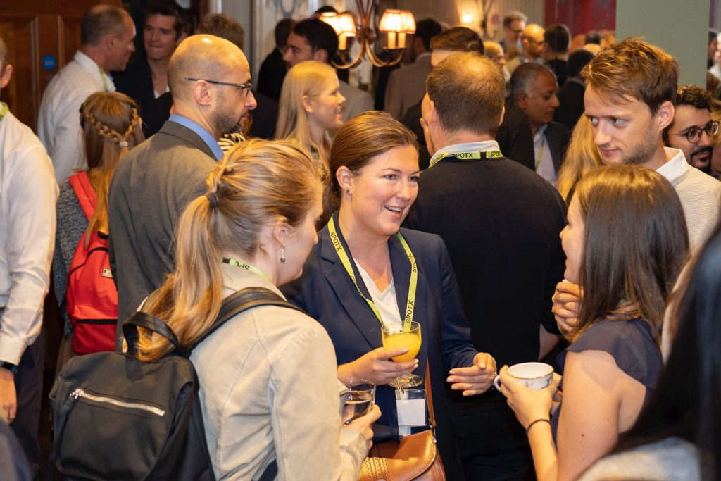 Attendees enjoying coffee and breakfast between sessions at the #breakfastXchange event in London