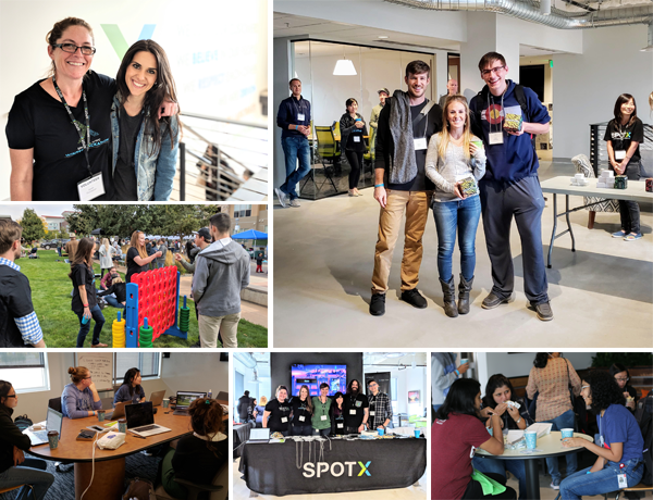 A collage of images of people participating in the SpotX Hackathon